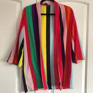 Rainbow striped kimono